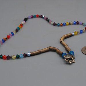 "Vintage Retro Colorful Beaded Necklace Silver 20"""